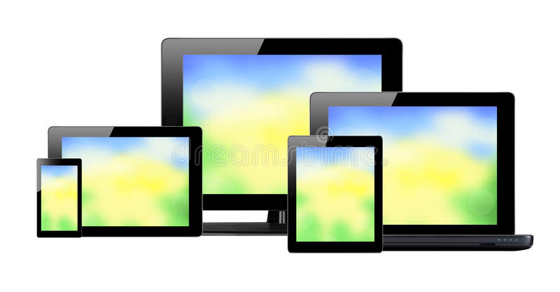 Tablet pc, mobile phone and computer with bright screens. Isolated on white background vector illustration