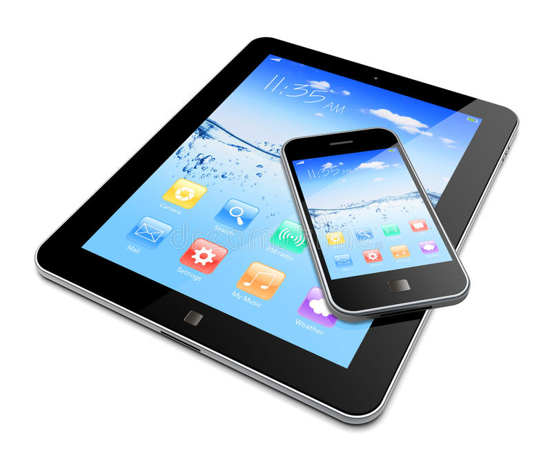 Tablet PC with mobile phone vector illustration