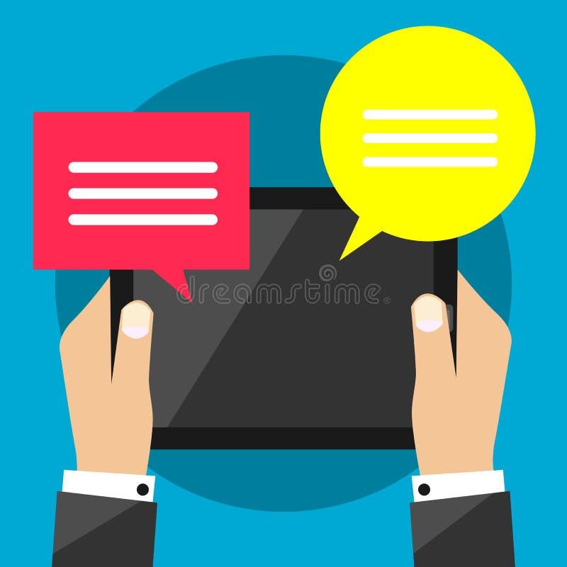 Tablet pc nas mãos do homem de negócio que recebem a mensagem - uma comunicação - sinal do símbolo do bate-papo ilustração do vetor