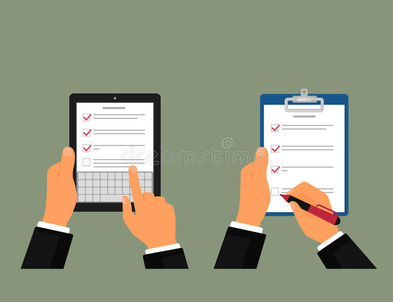 Tablet pc and notepad with task list stock illustration