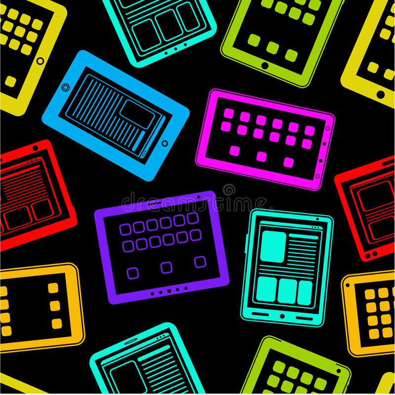 Tablet PC / Pad Vector Seamless Pattern Royalty Free Stock Photos