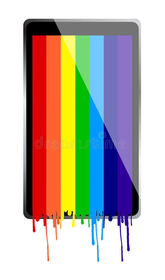 Download Tablet PC With Rainbow Paint Stock Illustration - Image: 28083422