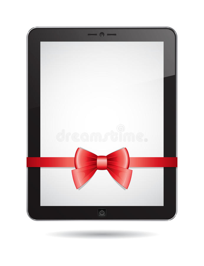 Download Tablet PC with red bow stock vector. Image of computer - 28253075