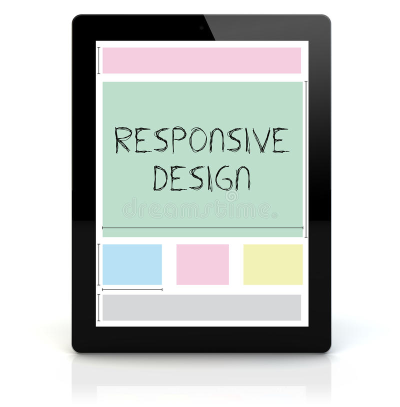 Tablet pc responsive. Web design concept: render of a tablet pc with responsive wireframe on the screen royalty free illustration