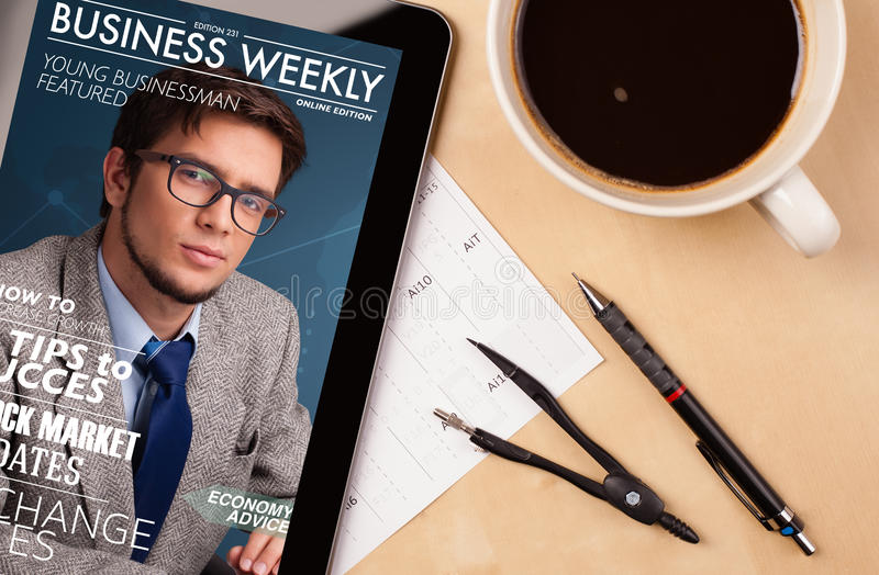 Download Tablet Pc Showing Magazine On Screen With A Cup Of Coffee On A D Stock Photo - Image: 33469776