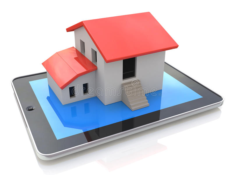 Tablet PC with simple house model on display - 3d illustration. In the design of information related to real estate vector illustration