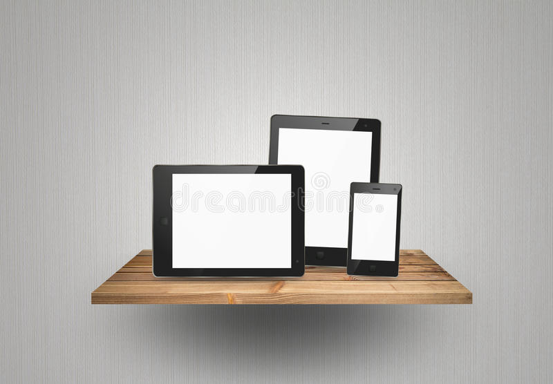 Tablet pc and smart phone on wood shelf stock illustration