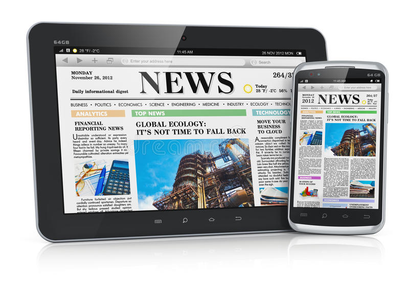 Tablet PC and smartphone with business news vector illustration