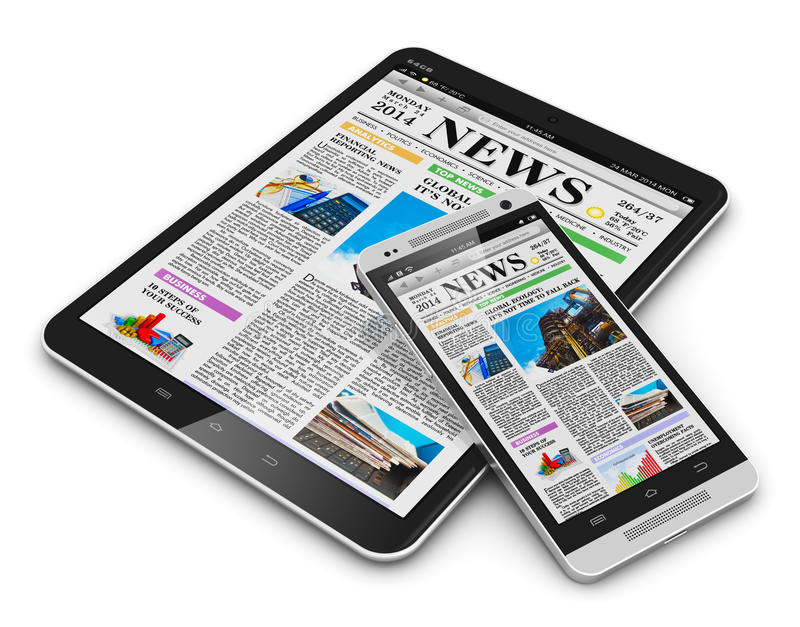 Tablet PC and smartphone with business news stock illustration