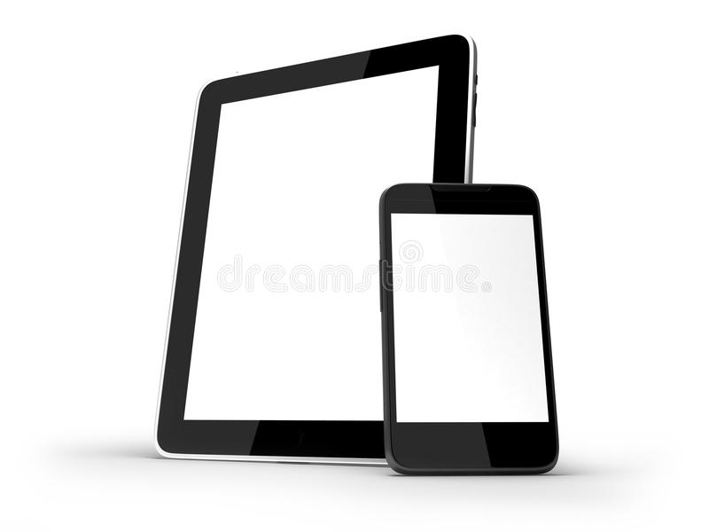 Tablet PC and smartphone isolated. Tablet PC and touchscreen smartphone standing isolated on white background royalty free illustration