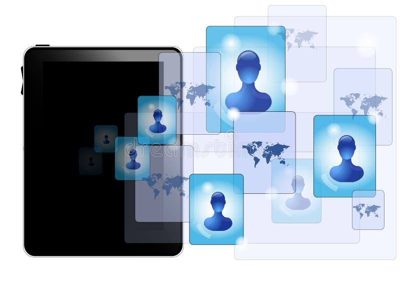 Tablet pc with social media stock illustration
