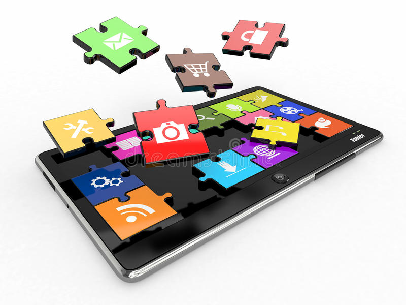Tablet pc software. Screen from puzzle with icons. 3d stock illustration
