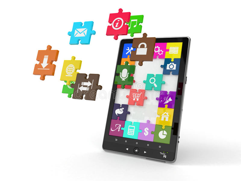 Tablet pc software. Screen from puzzle with icons. 3d vector illustration