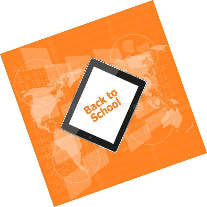 Tablet-PC stellte mit zurück zu Schulwort auf ihm, Bildungskonzept ein lizenzfreie stockfotografie