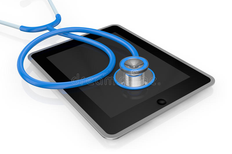 Tablet pc and stethoscope royalty free illustration