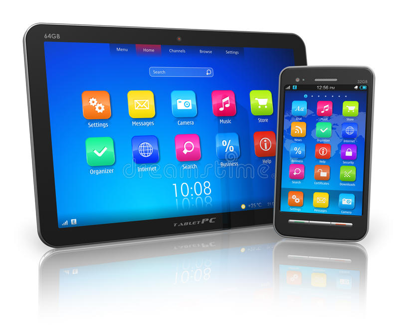 Download Tablet PC And Touchscreen Smartphone Royalty Free Stock Image - Image: 22322536