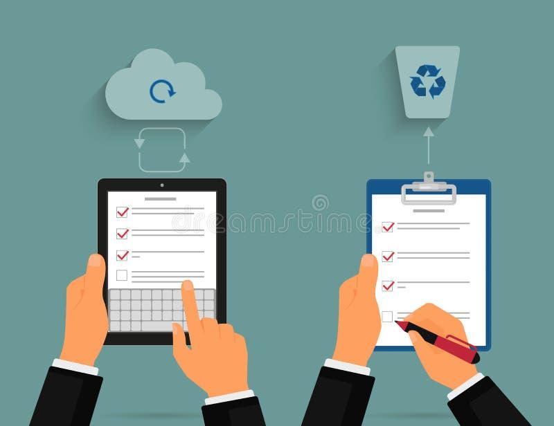 Tablet-PC und -notizblock mit Aufgabenliste stock abbildung