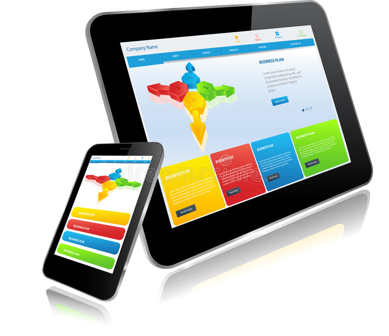 Tablet-PC und Smart-Telefon stock abbildung