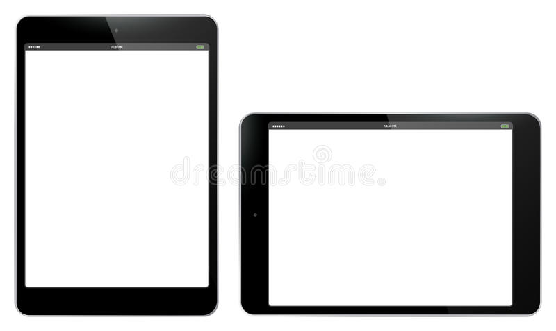 Tablet PC Vertical and Horizontal Vector Illustration. stock illustration