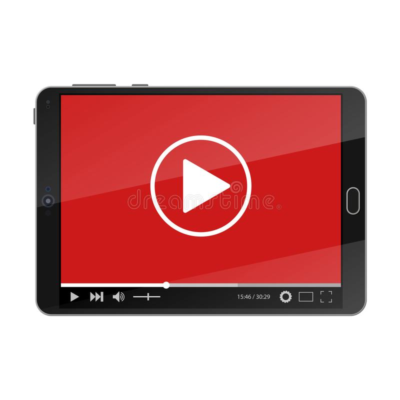 Tablet pc with video player on screen. stock illustration