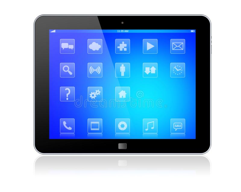 Tablet PC on a white royalty free illustration