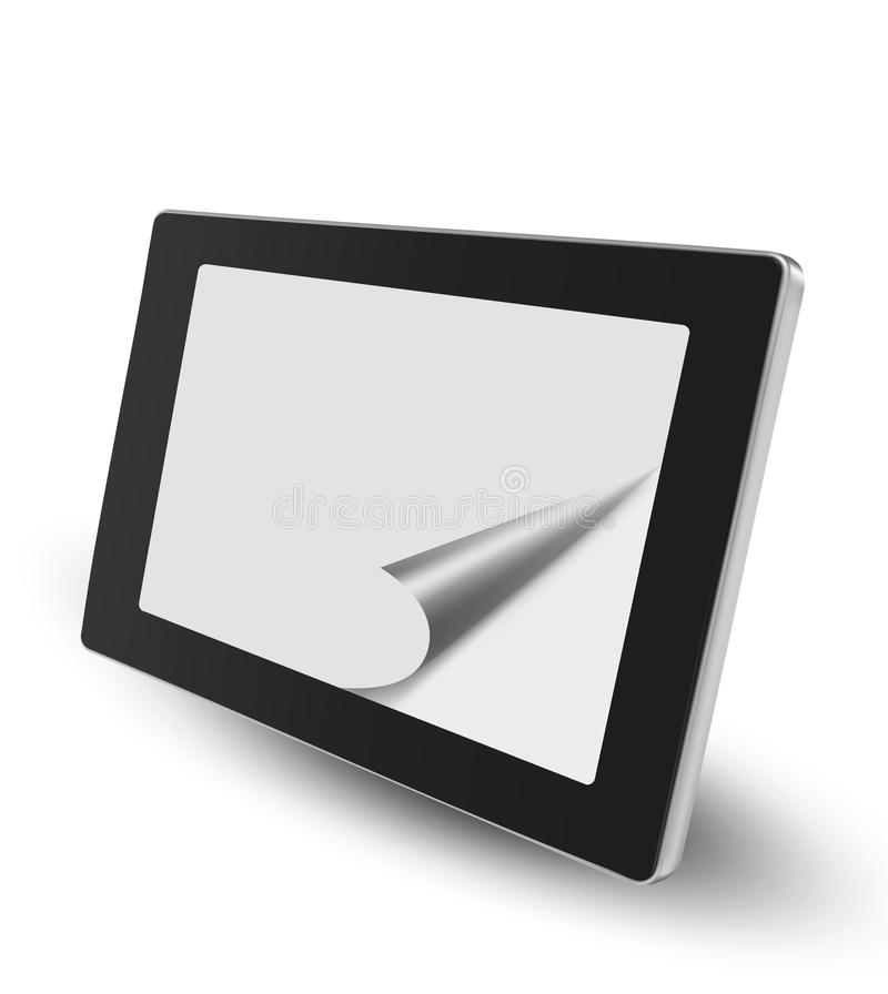 Download Tablet pc with white paper stock vector. Image of mobile - 26578785