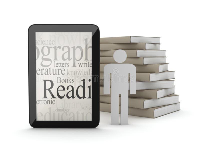 Tablet (personal computer), stapel boeken en menselijk cijfer royalty-vrije illustratie