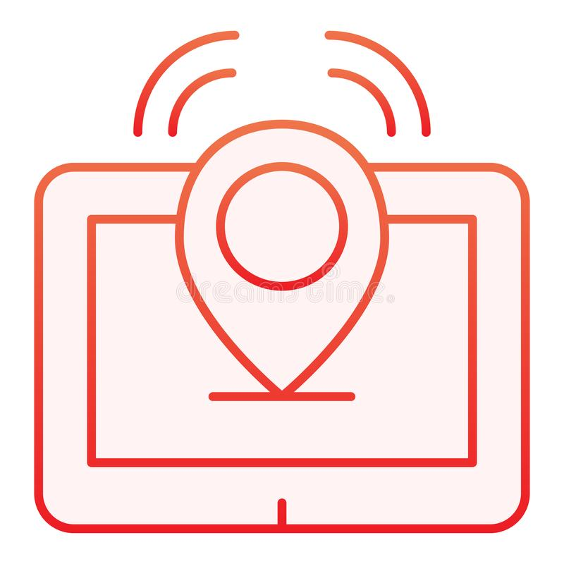 Tablet with pin flat icon. Tablet location red icons in trendy flat style. Gps gradient style design, designed for web stock illustration