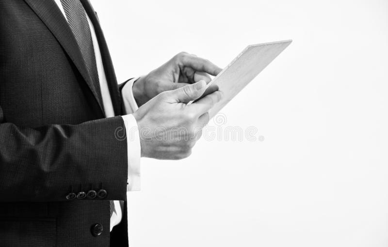 Tablet portable computer in hands of manager. Smart system control. Digital technology. Wireless technology. Get access. Network. Future technology virtual stock photography