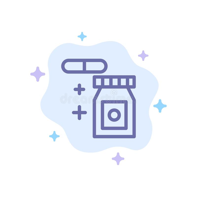 Tablet, regnerisch, Temperatur-blaue Ikone auf abstraktem Wolken-Hintergrund lizenzfreie abbildung