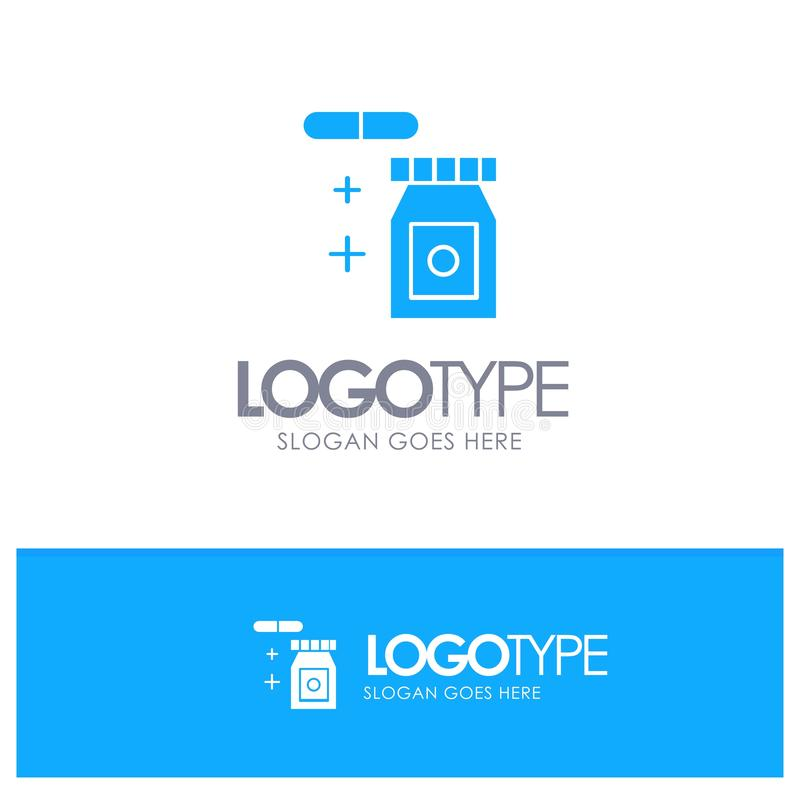 Tablet, regnerisch, Temperatur-blaues festes Logo mit Platz für Tagline stock abbildung