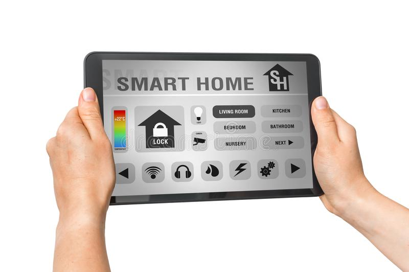 Tablet with remote smart home control system on white royalty free stock photo