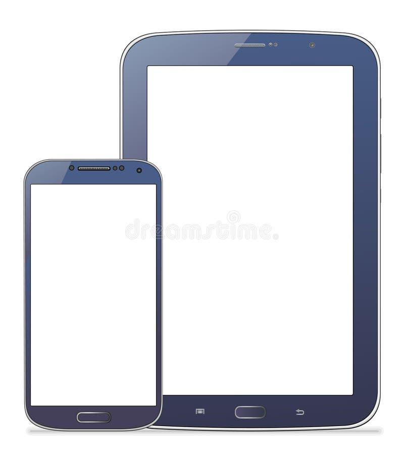 Tablet Samsung N5100 en mobiele S4 royalty-vrije illustratie