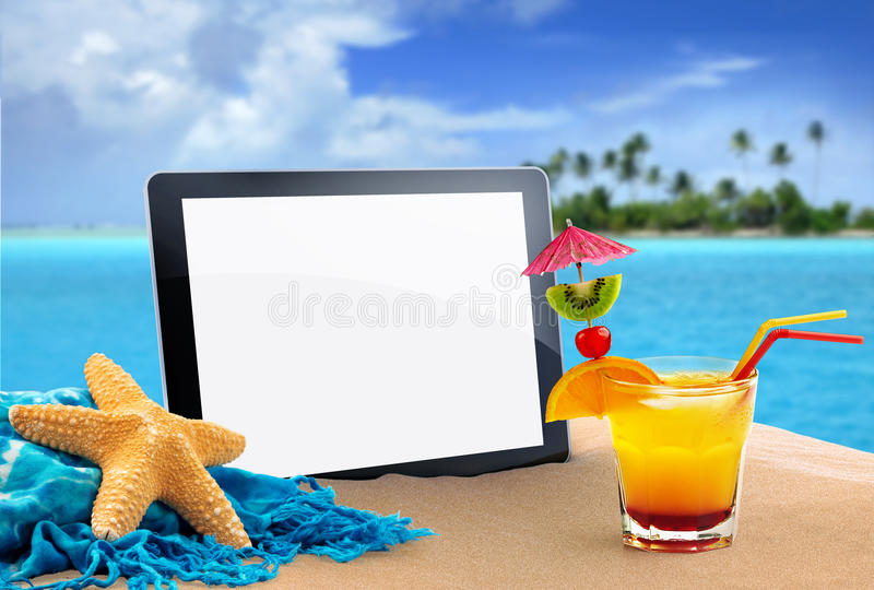 Tablet in the sand. Tablet, sea star and tropical cocktail in the sand vector illustration