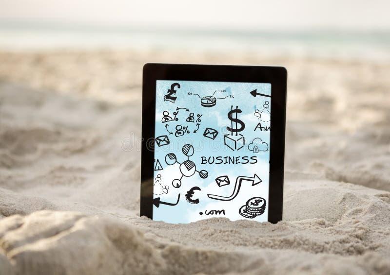 Tablet in sand showing black business doodles and sky vector illustration