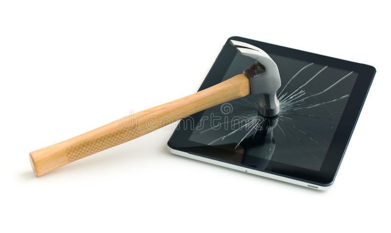 Tablet screen broken with a hammer. Isolated on white background stock photos