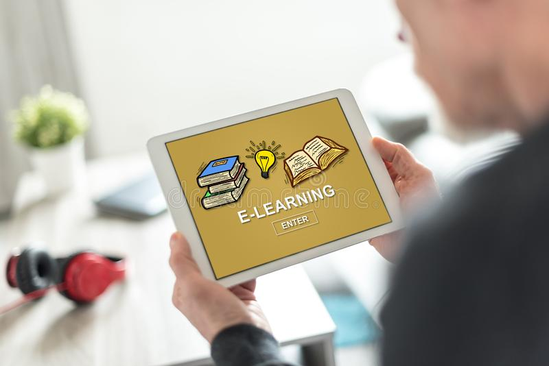 E-learning concept on a tablet. Tablet screen displaying an e-learning concept stock images