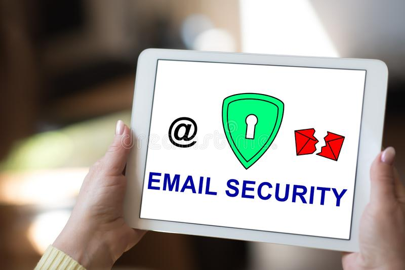 Email security concept on a tablet. Tablet screen displaying an email security concept royalty free stock image