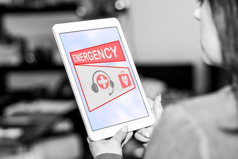 Emergency concept on a tablet stock images