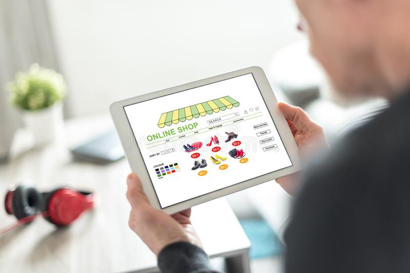 Online shop concept on a tablet royalty free stock image
