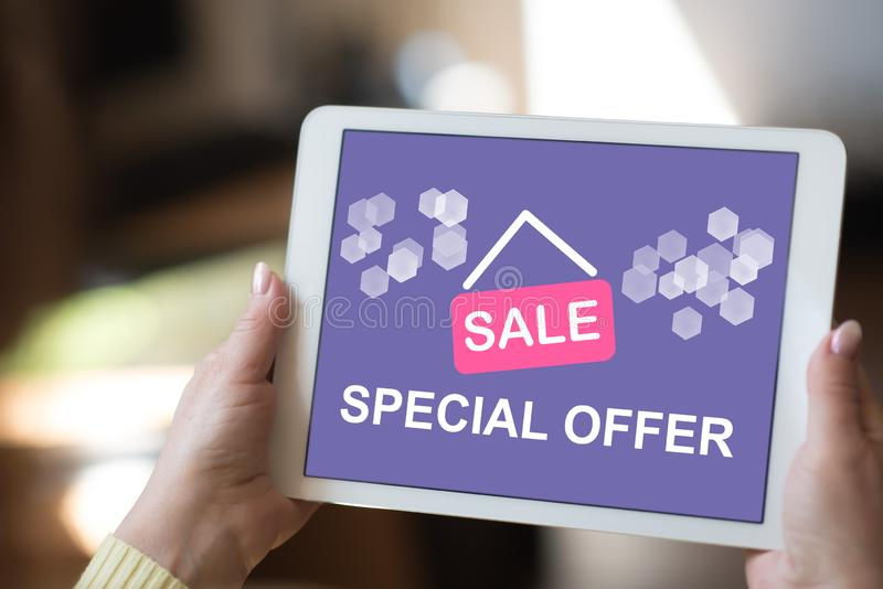 Special offer concept on a tablet stock photo