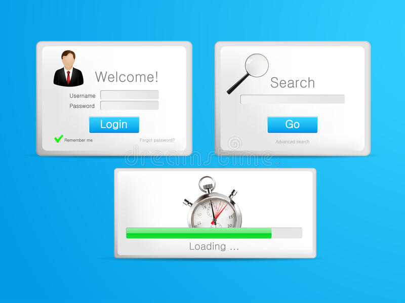 Tablet - search loading and login windows vector illustration