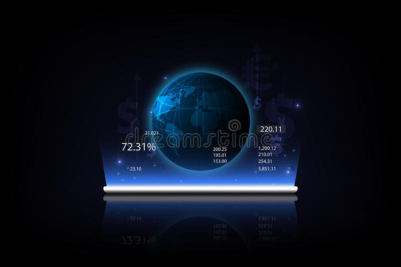 Tablet showing a growing virtual hologram of statistics, graph . and Money transfer. Global Currency. Stock Exchange. stock illustration