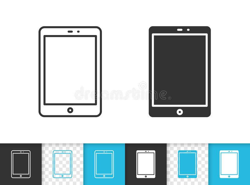 Tablet simple black line vector icon stock illustration