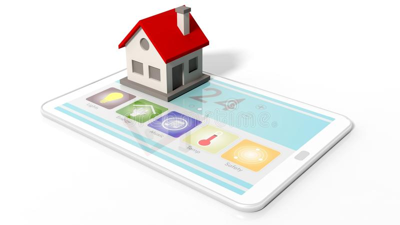 Tablet with smart home remote control screen and house icon vector illustration