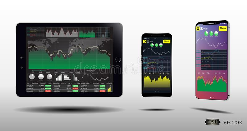 Tablet , Smart Phone Screens With Financial Charts and Graphs.Set Infographics . Eps10 stock illustration