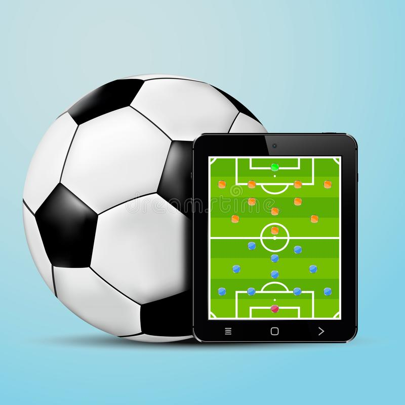 Tablet with soccer team formation screen and soccer ball. Vector illustration royalty free illustration