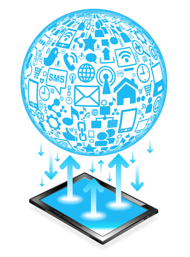 Tablet social network. Social network, communication in the global computer networks vector illustration