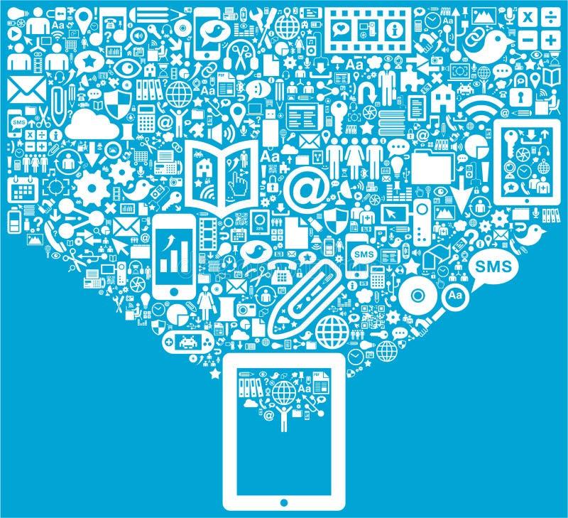 Tablet & Sociale Media pictogrammen stock illustratie