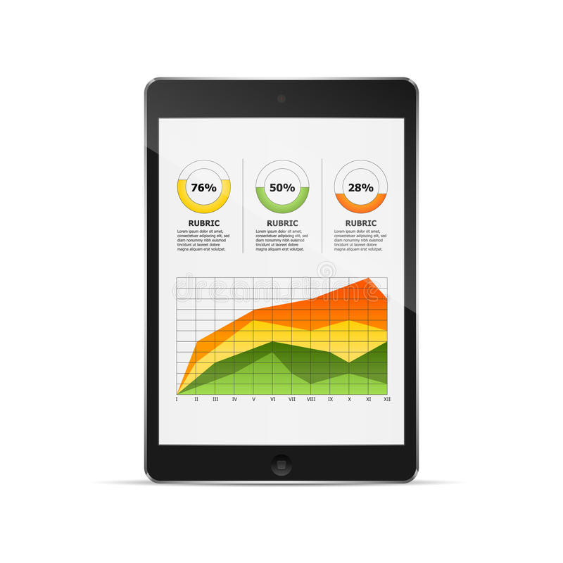 Tablet with statistics chart. vector illustration